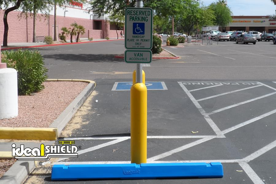 Yellow Handicap Bollard Sign Systems