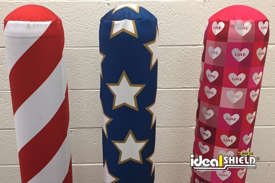 AdShield Fabric Bollard Covers - Candy Cane, American Flag, Valentine Hearts