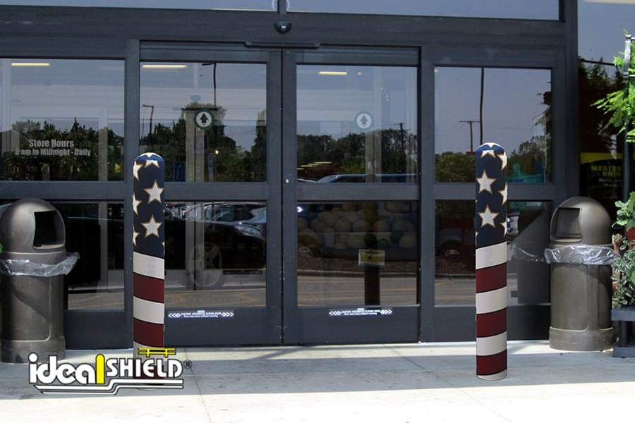 AdShield Fabric American Flag Bollard Cover