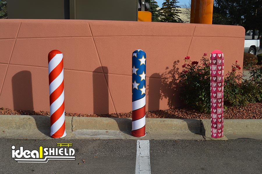Fabric Bollard Covers in a variety of styles are applied in seconds