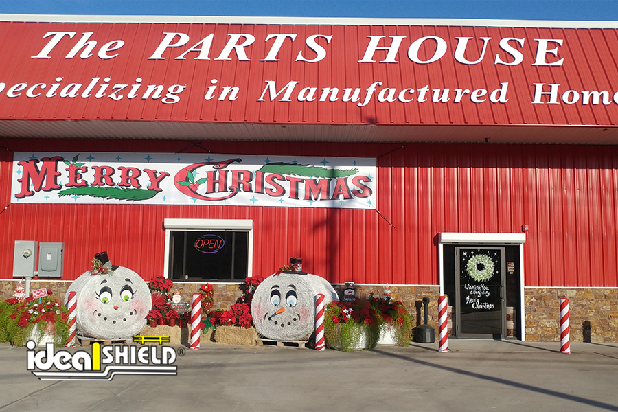 Candy Cane Fabric Bollard Covers for the holidays