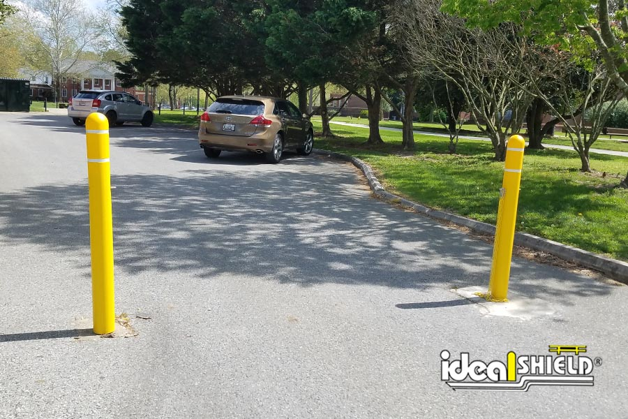 Yellow Reflective Dome Top Bollard Cover with Silver Stripes