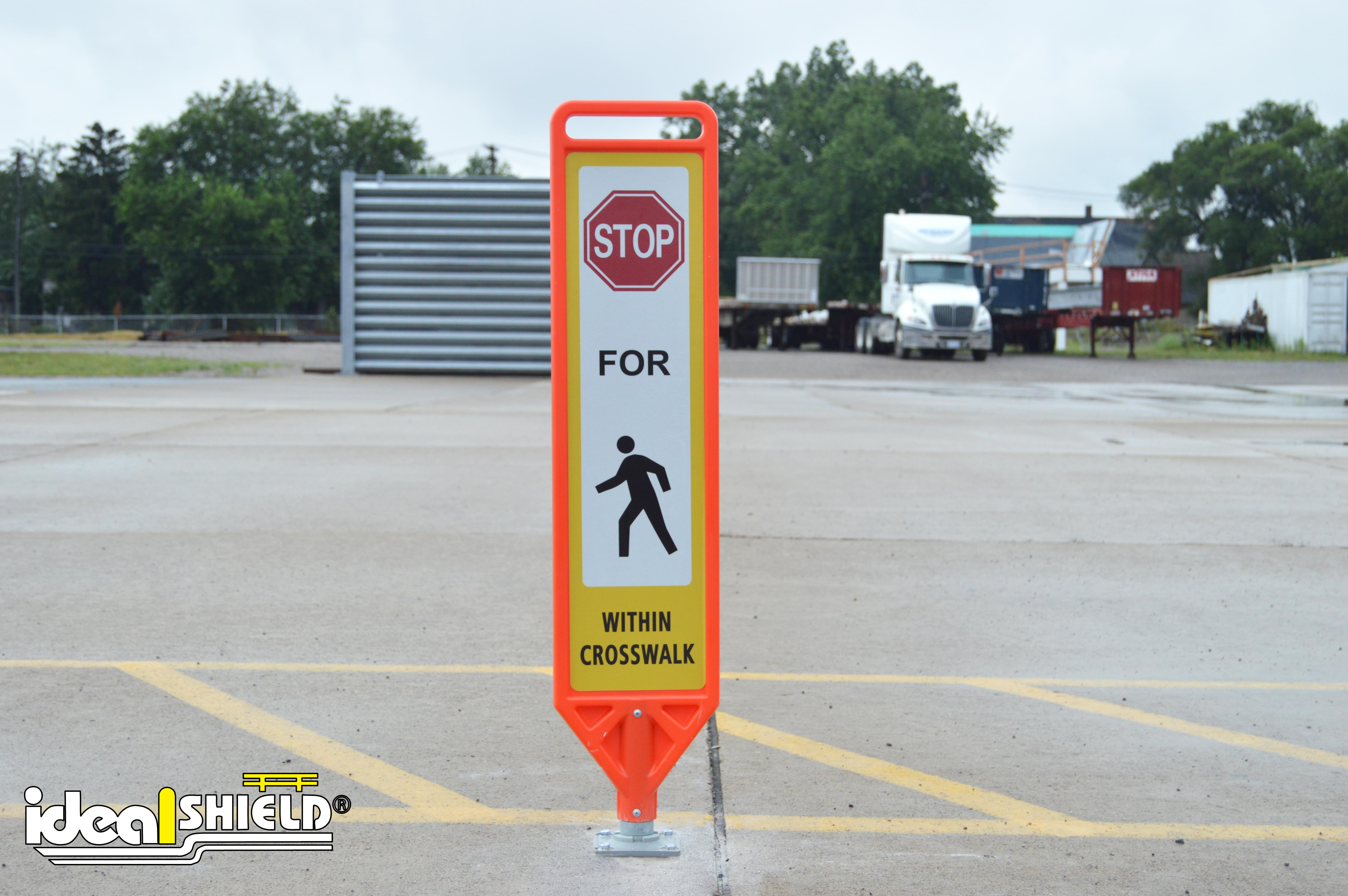 Flexible Delineator Paddle with Pedestrian Signage