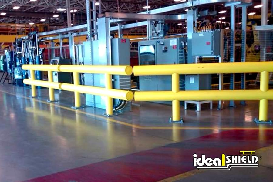 Two Line Guardrail Protecting Warehouse Equipment