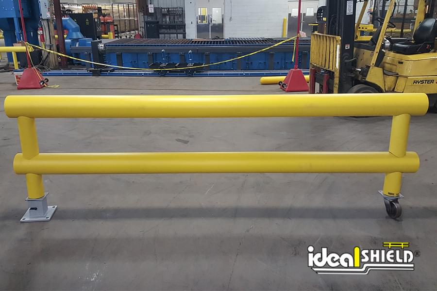 Ideal Shield's Heavy-Duty Two-Line Guardrail with custom wheel and removable base plate