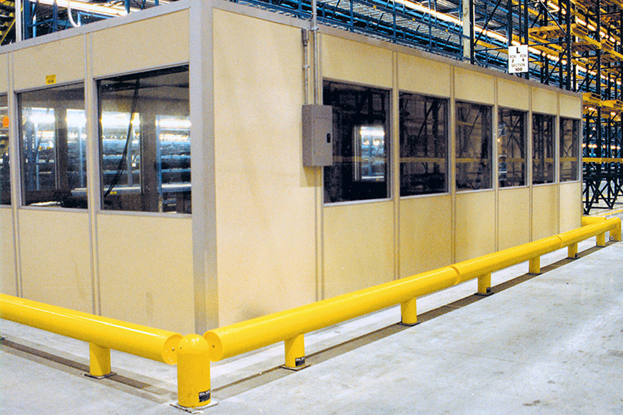 Ideal Shield's One-Line Heavy-Duty Guardrail protecting a factory office