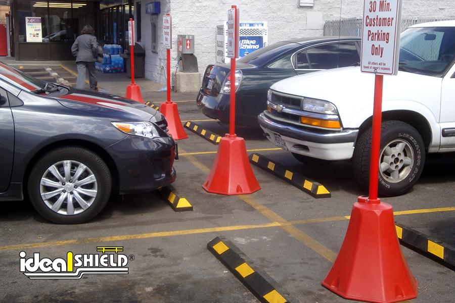 Customer Parking Only Signs Held By Ideal Shield's Octagon Sign Base