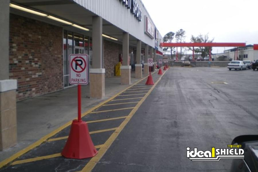 No Parking Zone Designated By Our Portable Sign Bases In Red