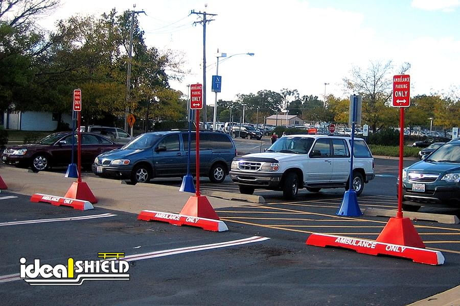 Ideal Shield's Pyramid Sign Bases used for Reserved Parking Signs