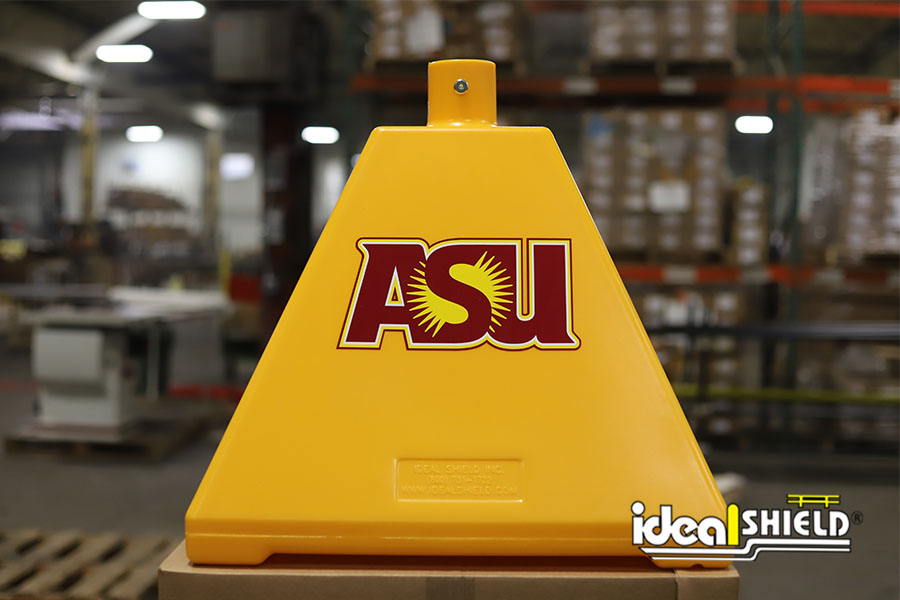 Ideal Shield's yellow Pyramid Sign Base with a custom decal for Arizona State University