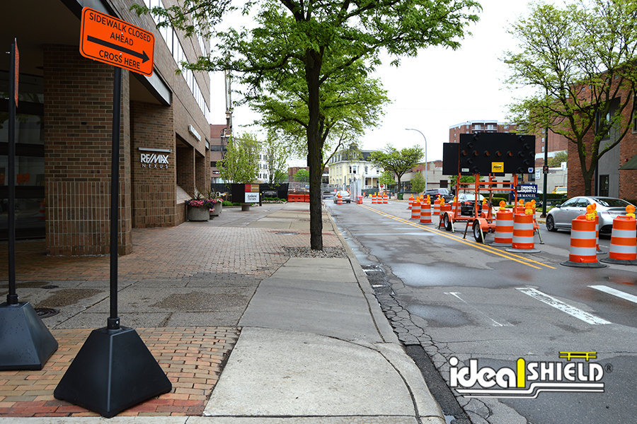 Ideal Shield's black on black Pyramid Sign Bases used for construction signage