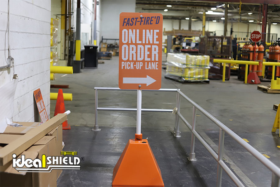 Ideal Shield's orange sign bases for Blaze Pizza's online ordering services