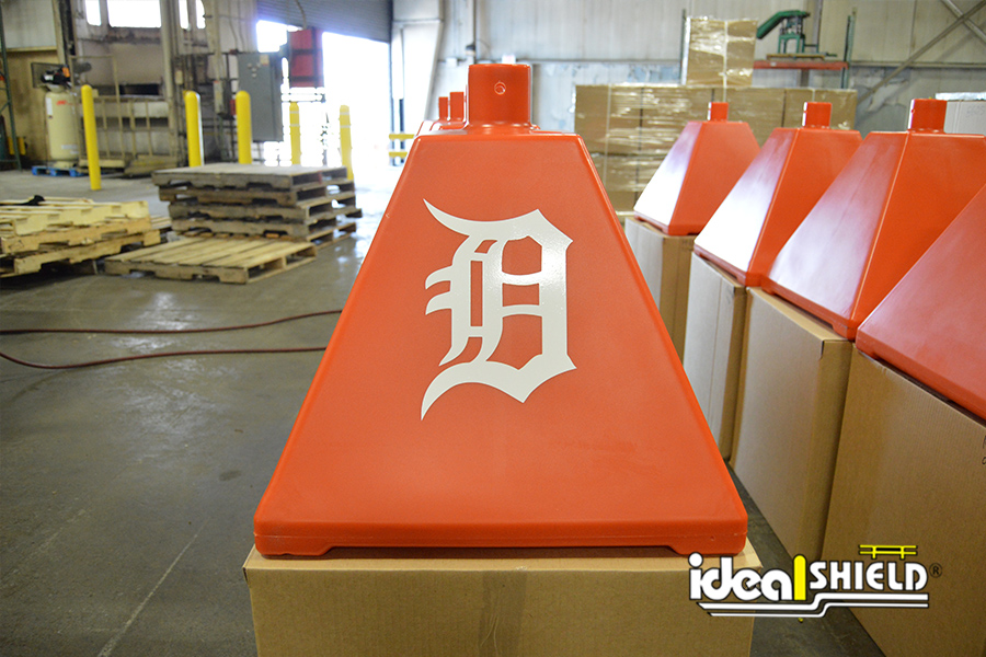 Ideal Shield's orange Pyramid Sign Base with custom decal for the Detroit Tigers