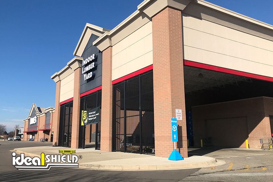Ideal Shield's Carolina Blue Pyramid Sign Bases are easy to see at Lowe's