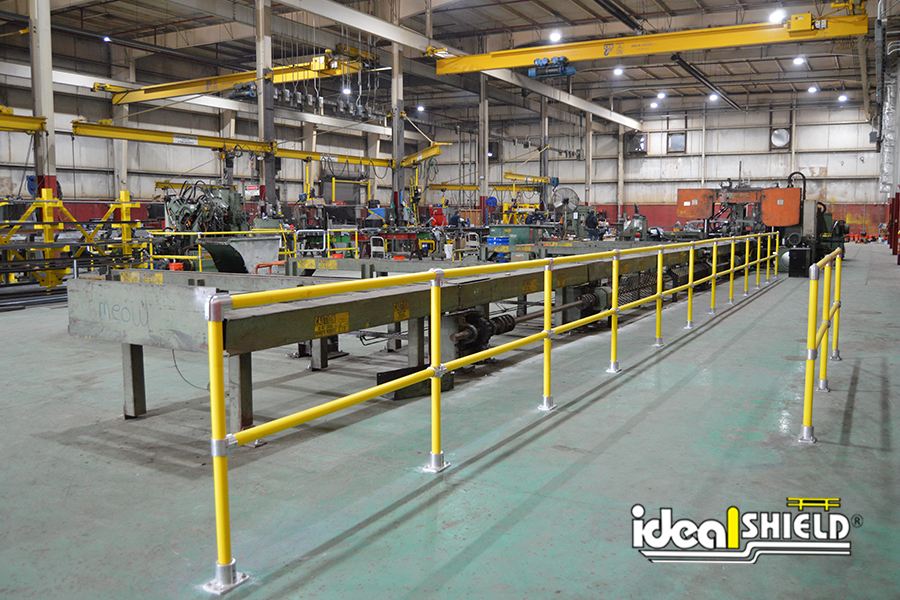 Ideal Shield's Steel Pipe & Plastic Handrail guarding steel machinery