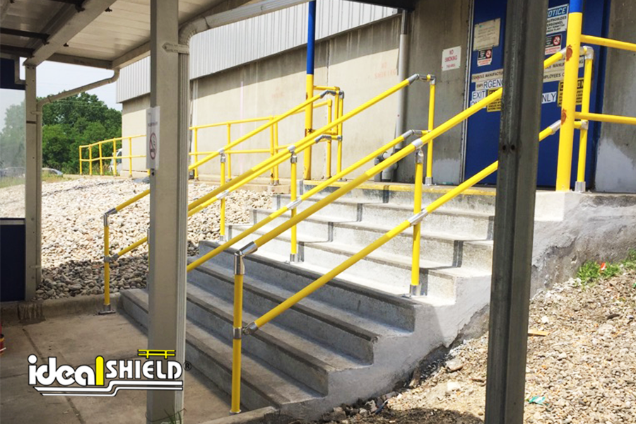 Ideal Shield's Steel Pipe & Plastic Handrail on a flight of stairs