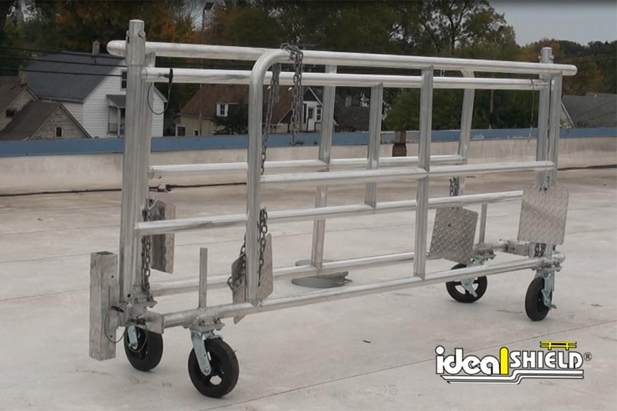 Ideal Shield's Mobile Parapet Barrier Folded for Storage