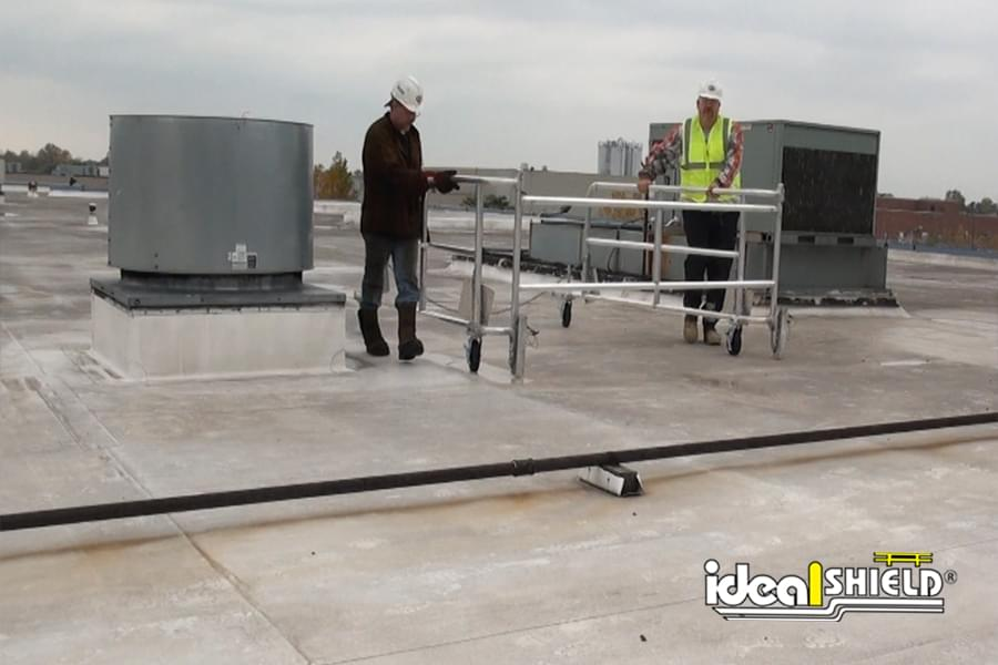 Ideal Shield's Mobile Parapet Rail is Easily Transported