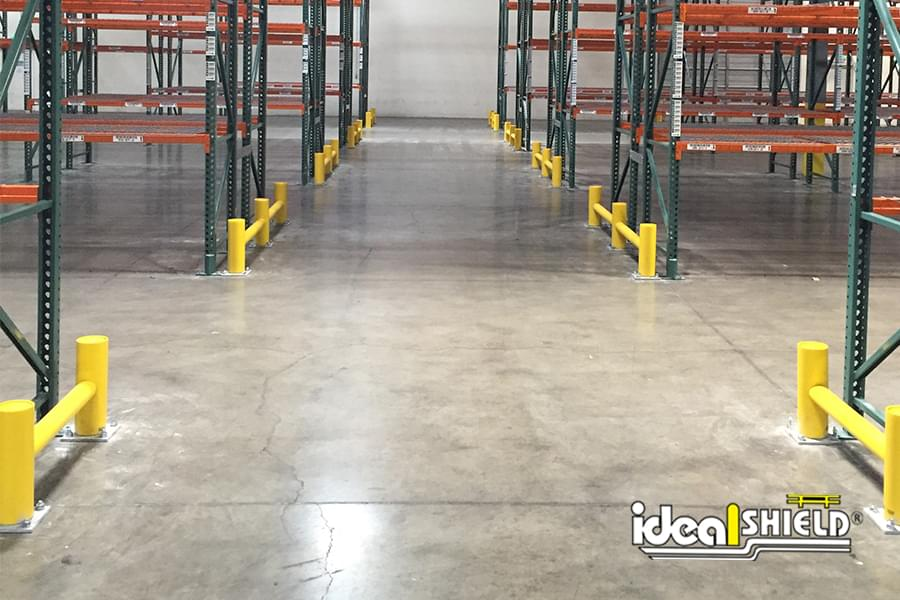 Ideal Shield's One-Line Rack Guard System lining a factory floor
