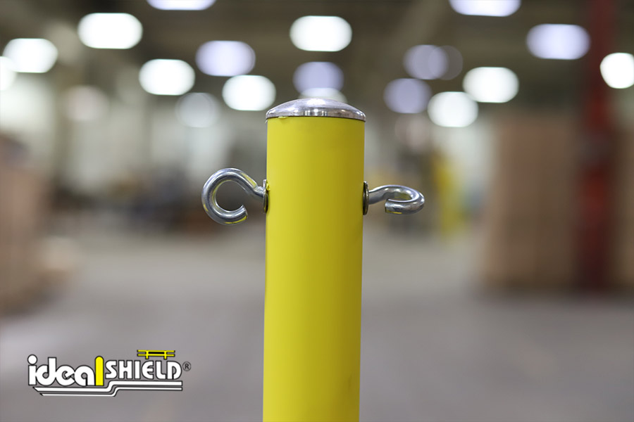 Close up of Ideal Shield's Warning Line System eye bolts