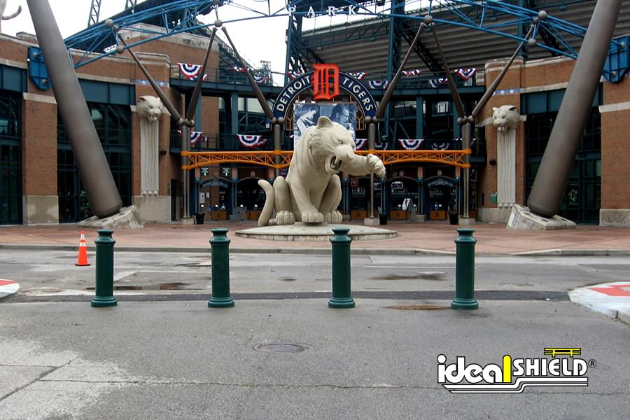 Ideal Shield's green Decorative Bollard Covers in front of Comerica Park