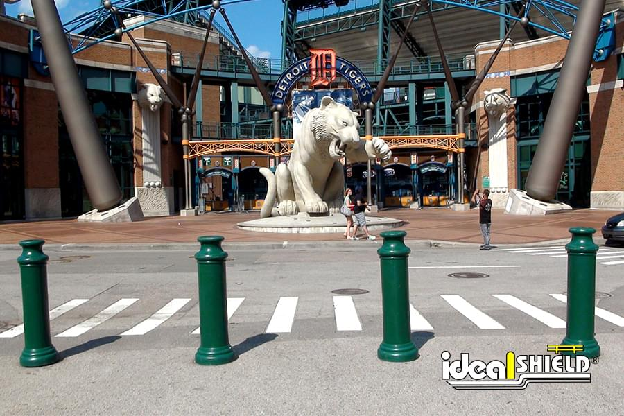 Ideal Shield's green Pawn Decorative Bollard Covers at Comerica Park in Detroit, MI