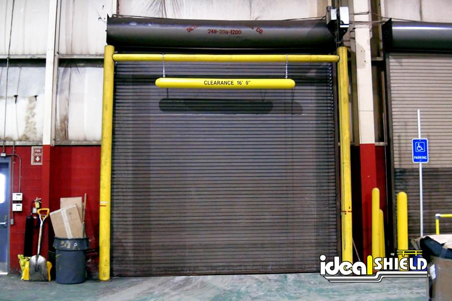 Ideal Shield's Goal Post and Clearance Bar protecting a dock door