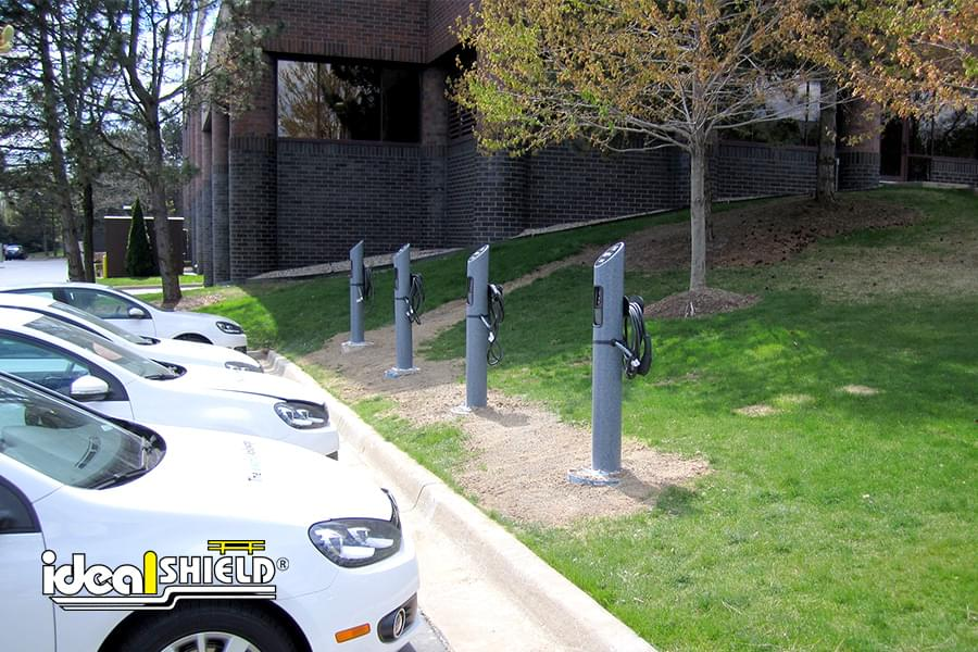 Ideal Shield's grey Electric Vehicle Charging Station Bollards