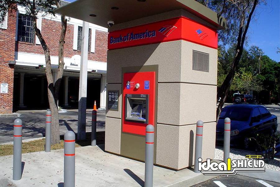 Ideal Shield's bollard covers protecting a Bank of America ATM
