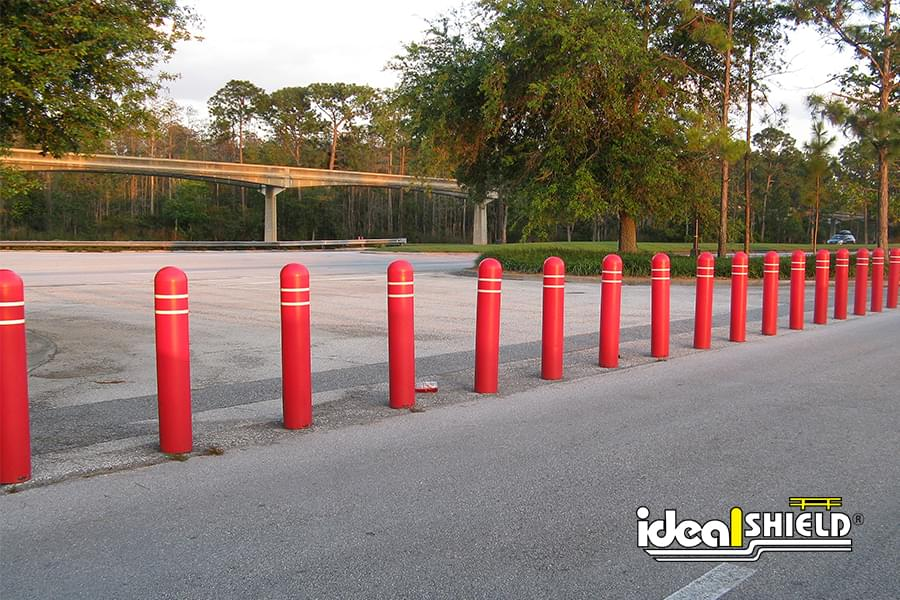 Ideal Shield's Red Bollard Covers with White Reflective Tape