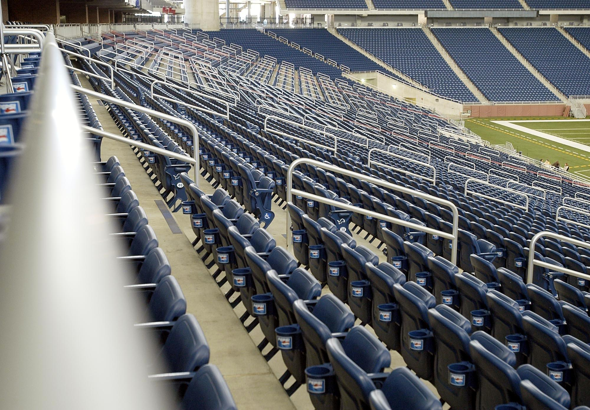 Ideal Shield aluminum handrail at Ford Field in Detroit, Michigan