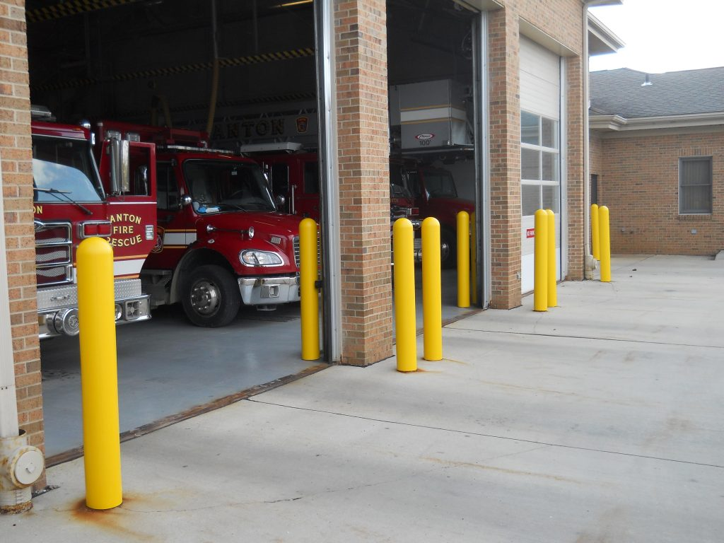 Ideal Shield's plastic bollard covers at fire station in Canton, MI.