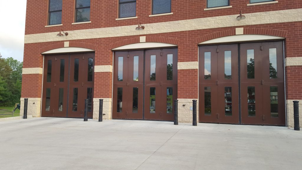Ideal Shield's decorative bollard covers at a fire station in Milford, MI.