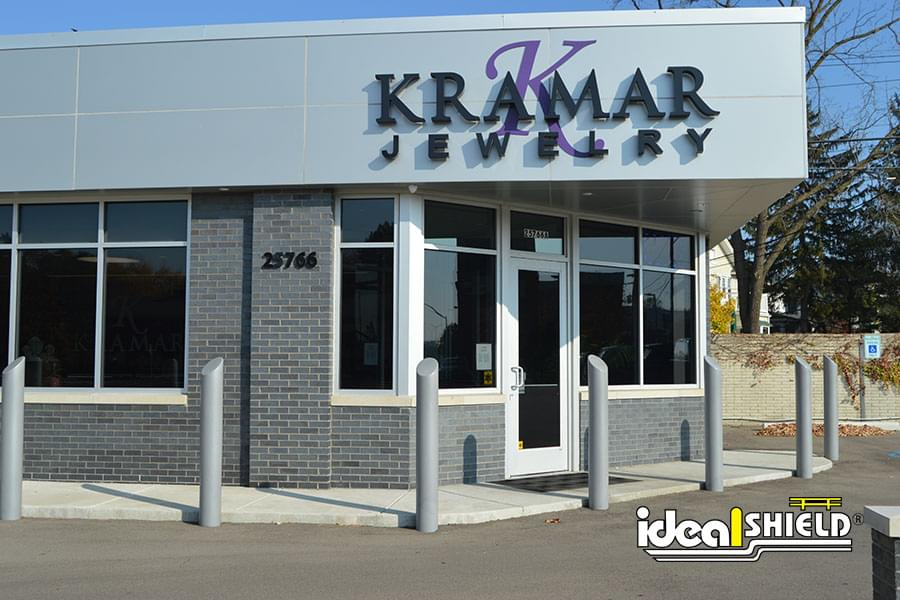 Ideal Shield's skyline decorative bollard covers in front of Kramar Jewelry