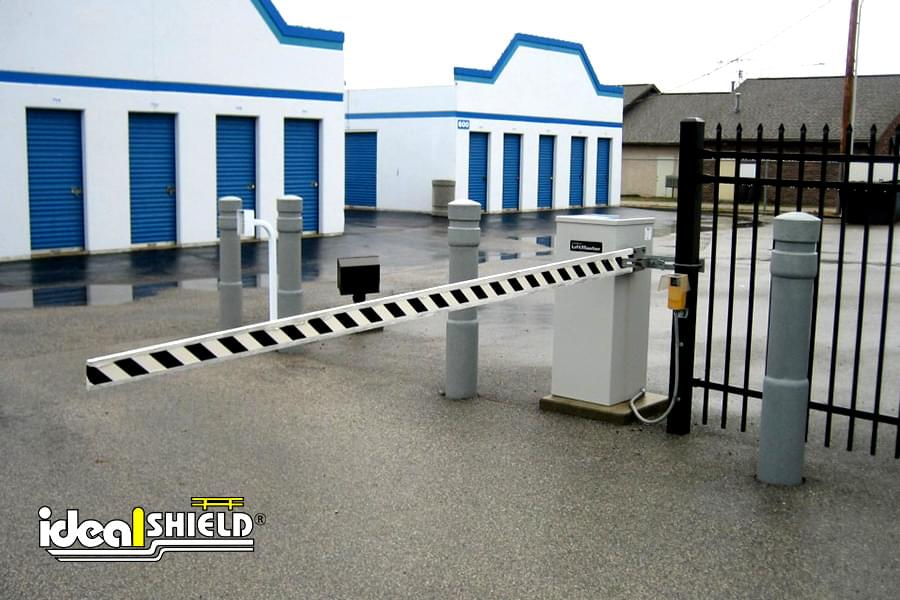 Ideal Shield's grey architectural bollard coves protecting a lift gate