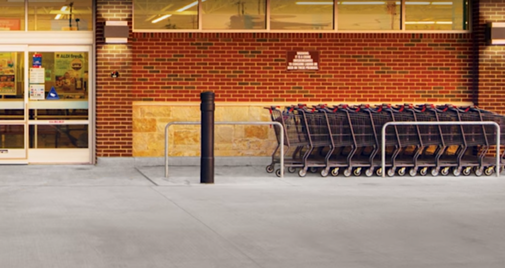 Ideal Shield's architectural bollard covers featured in Aldi's virtual store commercial