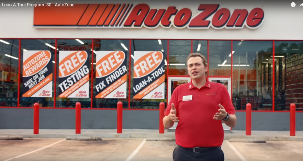 Ideal Shield's red bollard covers in an AutoZone commercial