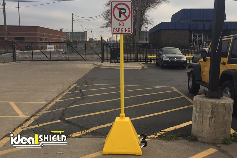 Ideal Shield portable sign base with wheels