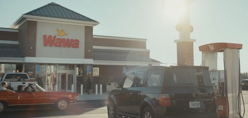 Ideal Shield's yellow bollard covers in a WaWa commercial