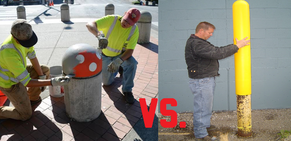 Painting concrete and steel bollard posts vs. bollard covers