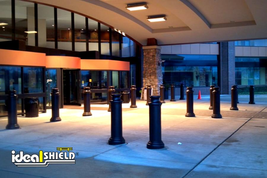 Ideal Shield's Ideal Shield's black pawn decorative bollard covers in front of a hotel