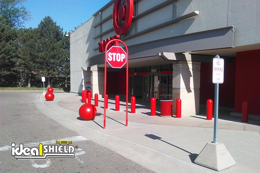 Ideal Shield's red bollard covers at Target