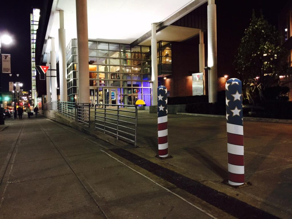 Ideal Shield's American Flag Fabric Bollard Covers