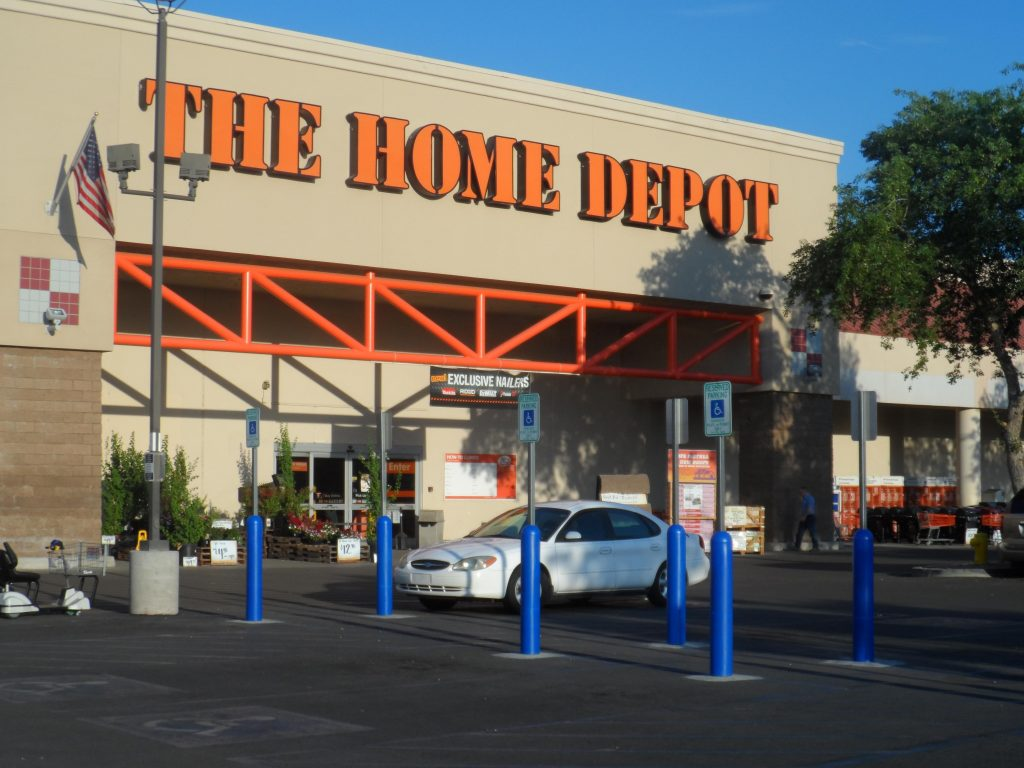 Ideal Shield's blue accessible Bollard Sign Systems at Home Depot