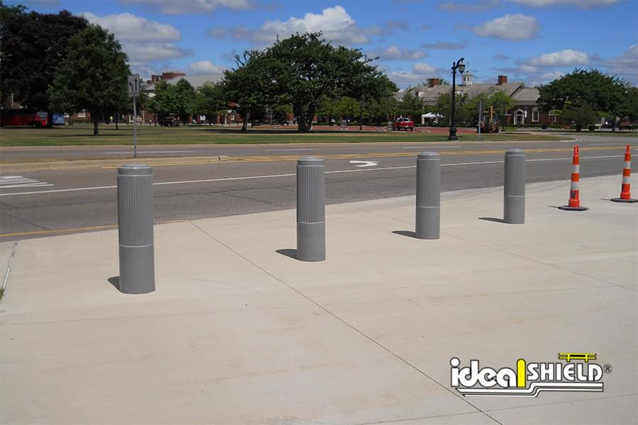 Ideal Shield's light granite Ribbed Decorative Bollard Covers