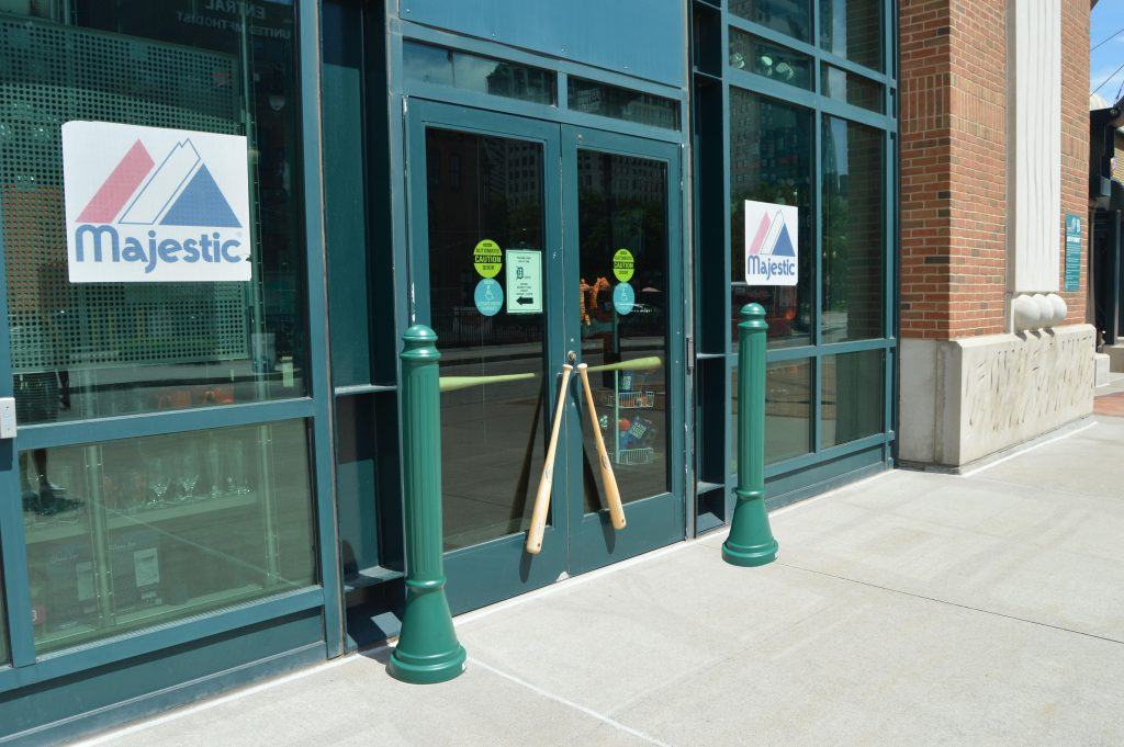 Ideal Shield's green Paramount Decorative Bollard Covers at Comerica Park in Detroit, MI