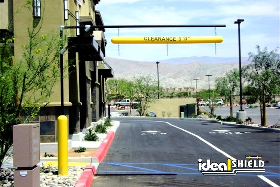 Ideal Shield's clearance bar at a fast food drive thru