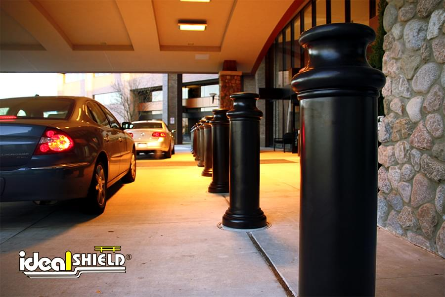 Ideal Shield's Decorative Bollard Covers at a hotel drop off area