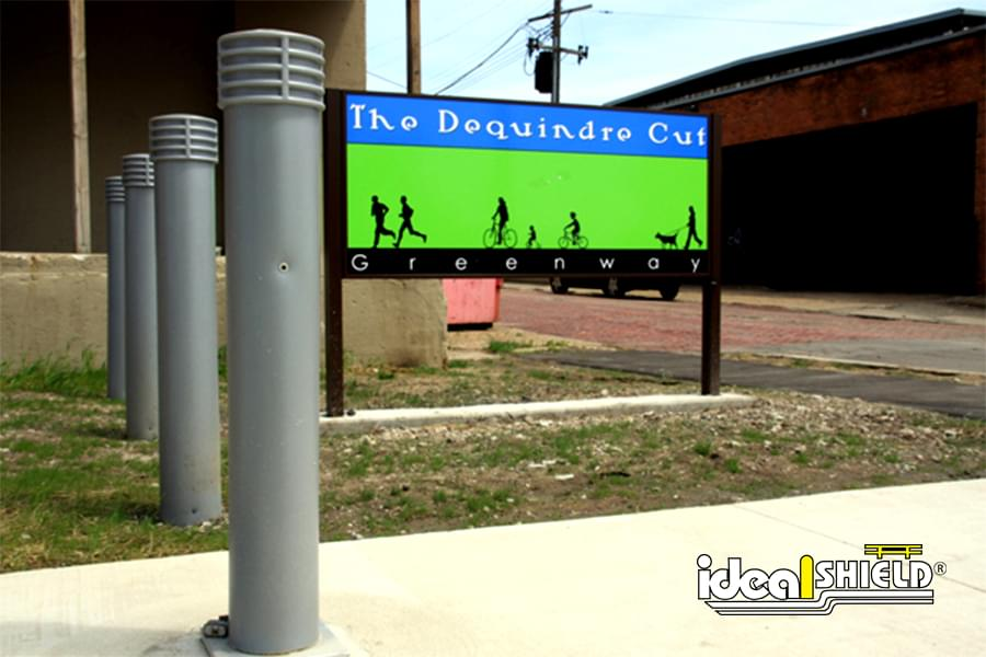 """Ideal Shield's 6"""" Cinco Decorative Bollard Covers at the Dequindre Cut bike and running path in Detroit"""