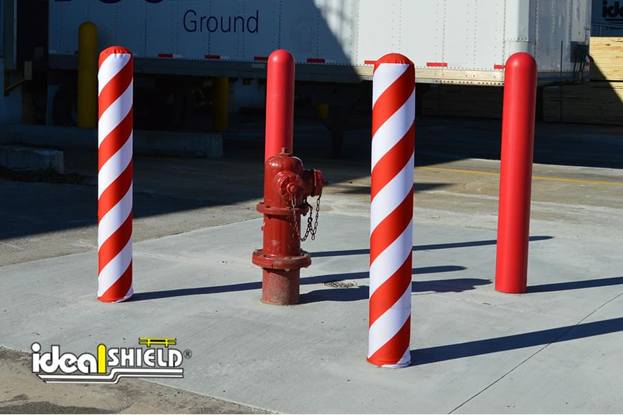 Ideal Shield's Candy Cane fabric bollard covers